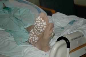 "The nurse gave me some cute ""skid proof"" socks."