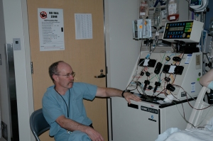 The apheresis machine with the collection nurse