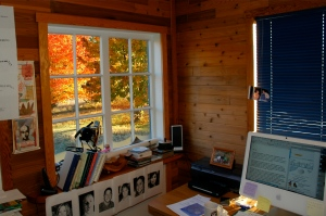 Nature is my muse; look at the beautiful fall colors outside my office window.