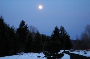 Moon glow at dusk