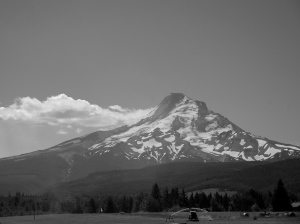 Mt. Hood and clouds from the Upper Hood River Valley