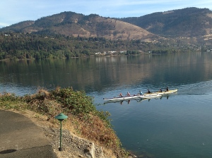 Rowers gliding on The Columbia River.