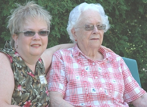 My sister Mary along with our Mom on her 90th birthday in 2005.