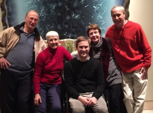 The Christmas Gang. L-R-My Brother Tom, My Wife Marilyn, Son Noah, My SIL Karen, and Me Enjoying Post Movie Drinks.