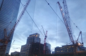 Cranes at Work in the SoMa, Building Something New and Wonderful.