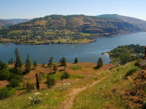 Hiking at Rowena Crest in the Columbia River Gorge.