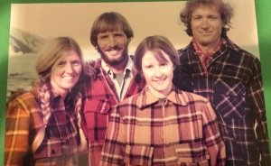 New Zealand, 1976. Arlene, Kevin, Marilyn, and me wearing our NZ bush shirts.