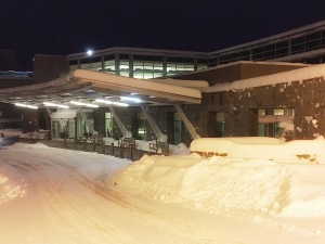 Hospital parking lot.