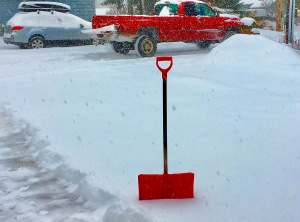 Red shovel in the snow.