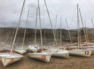 Beached sailboats on the Columbia River shore.