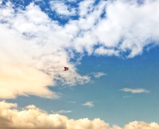 A child's kite in the spring sky.