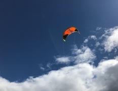 A grownup's kite in the spring sky.